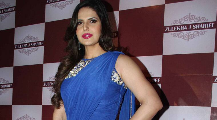 Zaine Khan looks lovely in a blue sari gown.