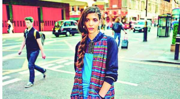 A model in a bomber jacket from Anita Dongre's 'London Calling' collection for Global Desi