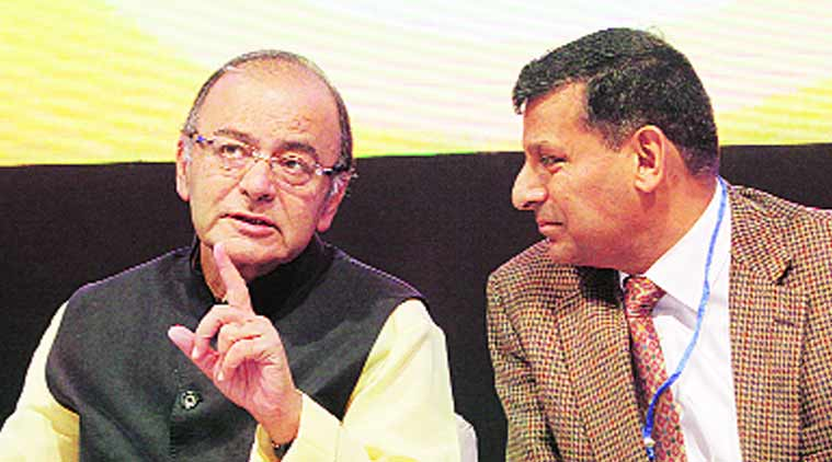 Finance Minister Arun Jaitley and RBI Governor Raghuram Rajan. (Source: Express Photo by  Arul Horizon)