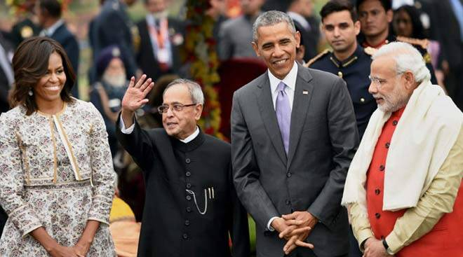 Obama, First Lady Michelle during At-Home reception on Republic Day