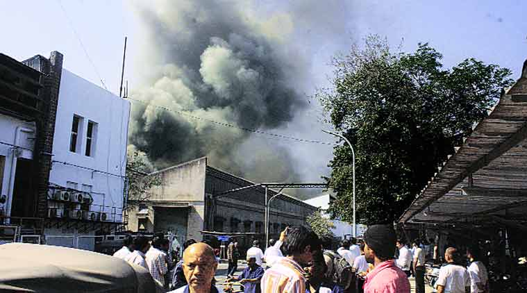 The fire started at around 11.30 am. (Source: Express Photo by Rajesh Stephen)
