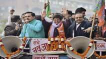 BJP leader Kiran Bedi during a road show