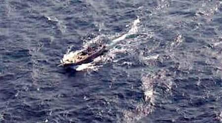 gujarat pakistani fishermen, indian coast guard, pakistani fishermen held, pakistani fishermen apprehended, pakistani fishing boat, indian express