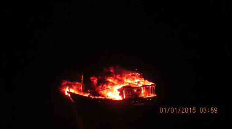 Pakistan boat, Pak boat explosion, Porbandar boat explosion, Karachi,