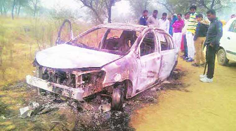 The car was found parked on a road on the outskirts of Issarhedi village. (Source: Express photo)