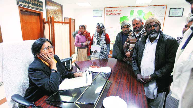 Mayor Poonam Sharma at Municipal Corporation office in Sector 17, Chandigarh, on Thursday. (Source: express photo byJasbir Malhi)