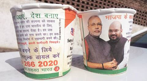 On board Shatabdi Express, chai pe BJP charcha: Cups have Modi, Shah photos