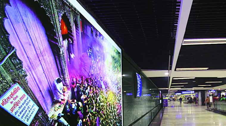 Crafts of India are framed at the INA Metro Station corridors. (Source: Express photo by Oinam Anand)