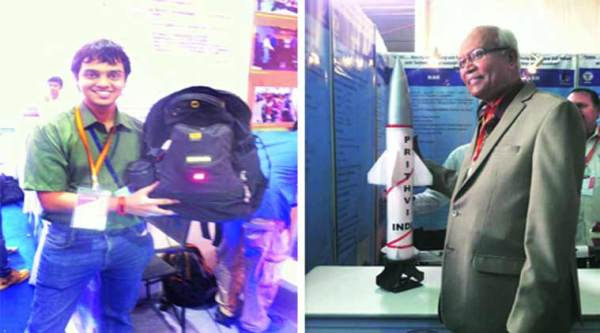 Kaustubh Shivdikar with his E Bag; Dr R A Mashelkar with a miniature replica of the Prithvi missile. (EXPRESS PHOTO)