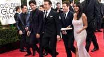 'Entourage' cast films scenes on Golden Globes redcarpet