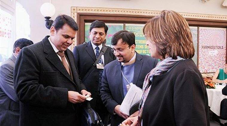 Davos: Maharashtra CM Devendra Fadnavis at the Make in India Lounge on the sidelines of World Economic Forum in Davos on Wednesday. PTI