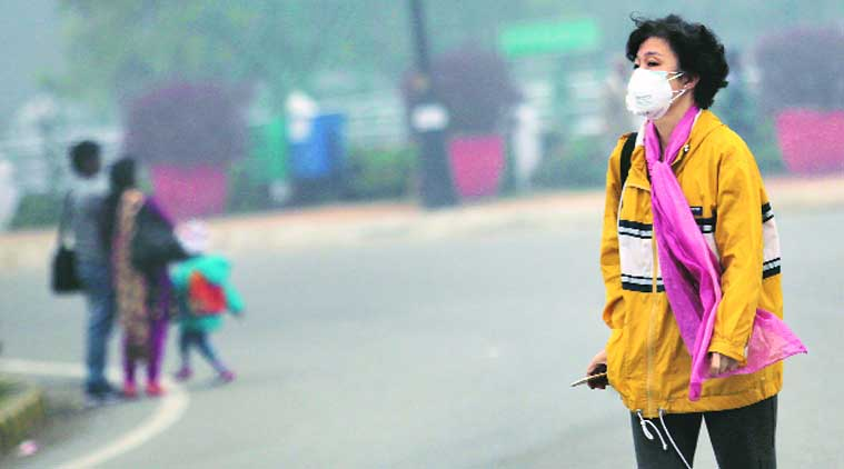 A tourist walks around wearing a mask after Delhi sees a spurt in H1N1 cases. (Source: Express photo by Ravi Kanojia)