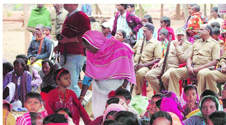 Policemen at the 'ghar wapsi' programme on January 28. ( Source: Express Photo)