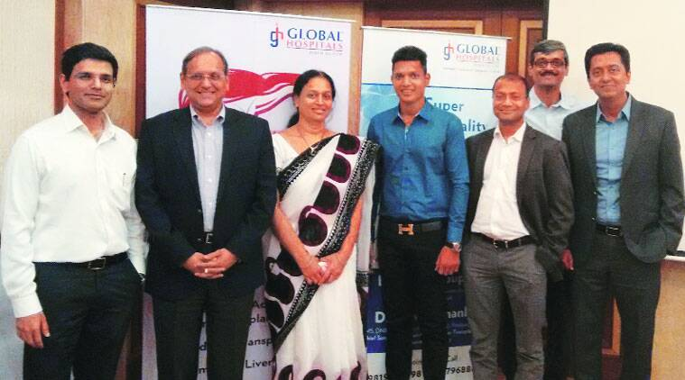Hepatology team of Global Hospitals and the liver transplant patient along with her donor son. (Source: Express photo)