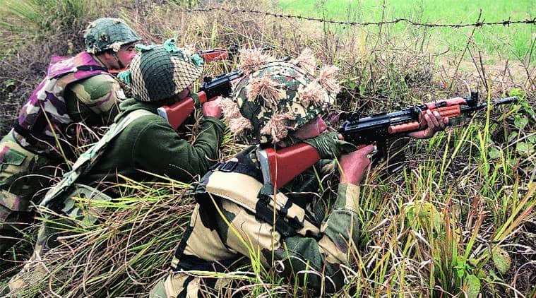 Border Security Force personnel keep vigil at Samba sector on Wednesday. (Mukesh Gupta)