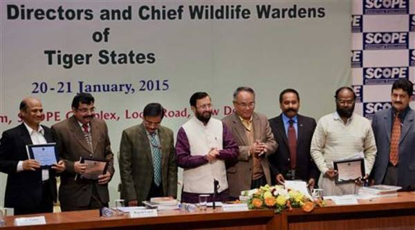 Prakash Javadekar with awardees of National Tiger Conservation Authority after distributing the NTCA award at the inaugural session of the meeting of Field Directors & Chief Wildlife Wardens on Best Practices & Wildlife Crime Monitoring Systems, organised by the National Tiger Conservation Authority, in New Delhi on Tuesday. (PTI Photo)