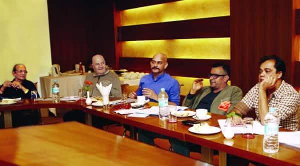 Biswajit Chatterjee, Prem Chopra, Vijay Krishna Acharya, Subhash Kapoor and Sanjay Chhel  ponder over a point