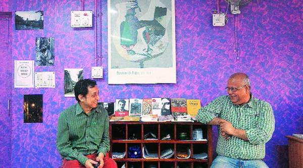 Gupta (left) and Mukherjee at the Jadavpur University Press
