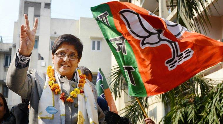 BJP Chief Ministerial candidate Kiran Bedi during her election campaign at Taj Enclave Geeta Colony on Thursday. (Source: PTI Photo)