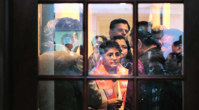 Kiran Bedi at the BJP headquarters soon after joining the party. (Source: Express Photo by Oinam Aanad)