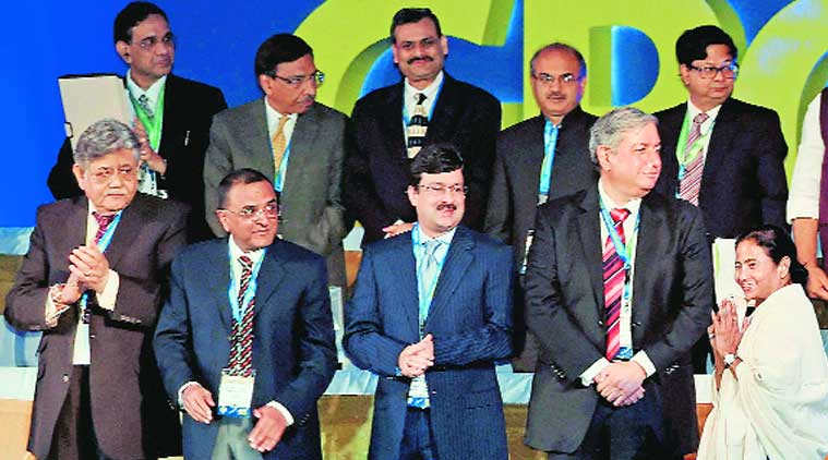 Mamata Banerjee greets industrialists at the Bengal Global Business Summit in Kolkata on Thursday. (Source: PTI)