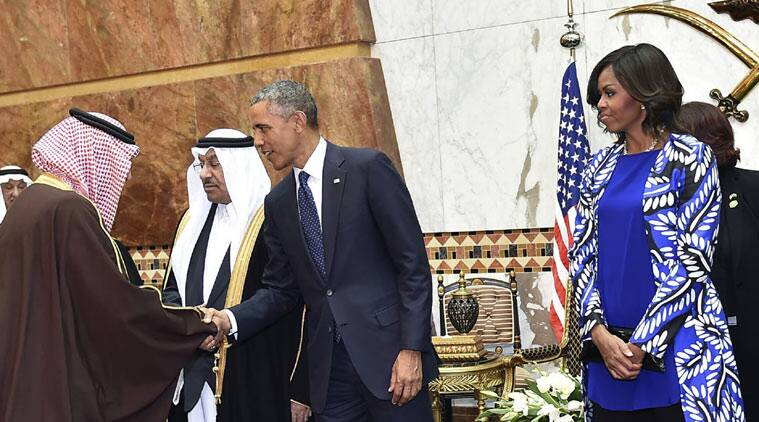 In this Tuesday, Jan. 27, 2015 photo provided by the Saudi Press Agency, President Barack Obama and first lady Michelle Obama stand in a receiving line, in Riyadh, Saudi Arabia, Tuesday, Jan. 27, 2015. (Source: AP)