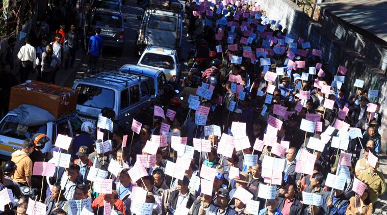 Marchers in capital Aizawl numbered between 1000 to 1200, according to police. (Source: Express photo)