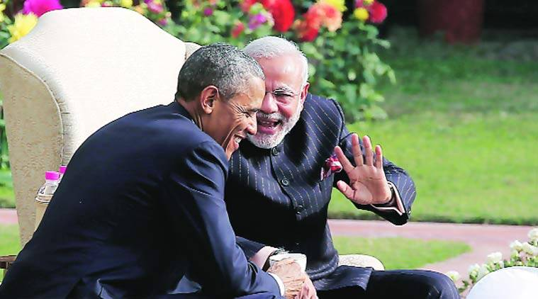 Prime Minister Narendra Modi and President Barack Obama have coffee and tea in the garden of Hyderabad House in Delhi. (Source: REUTERS)