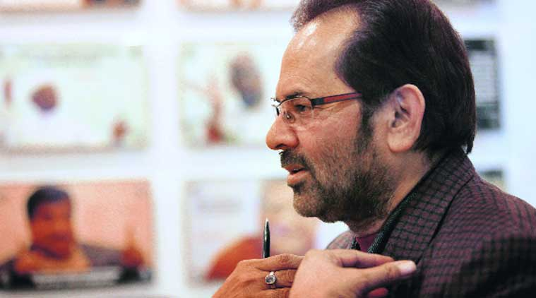Union Minister Mukhtar Abbas Naqvi (Source: Express Photo by Ravi Kanojia)