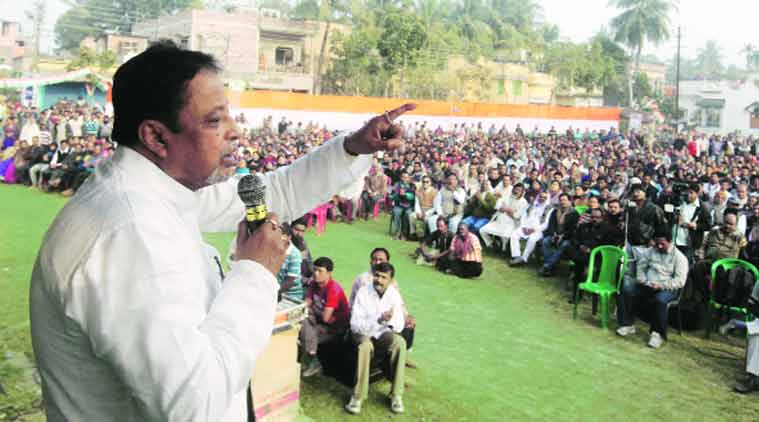 Mukul Roy during a workers' meet for the coming by-election in Bongaon. (Source: Express Photo by Partha Paul)