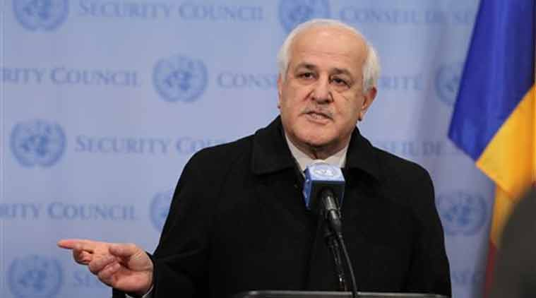 In this photo, Palestinian Ambassador Riyad Mansour speaks to reporters at the United Nations headquarters Friday, after the Palestinians submitted documents to the United Nations to join the International Criminal Court. (Source: AP)