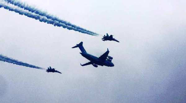 P-8I Poseidon flies in formation with MiG-29Ks . (Source: AP)