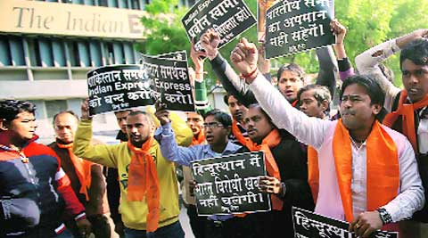 Hindu Sena activists outside The Indian Express office on Monday. (Source: Express photo by Praveen Khanna)