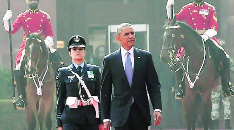 Wing Cdr Puja Thakur with Obama at the guard of honour. (Source: Express Photo by Renuka Puri)