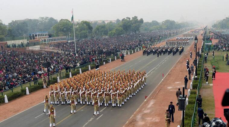 Indian paramilitary soldiers march during the full dress rehearsal for the Republic Day parade at Rajpath in New Delhi on Friday. (Source: PTI photo)