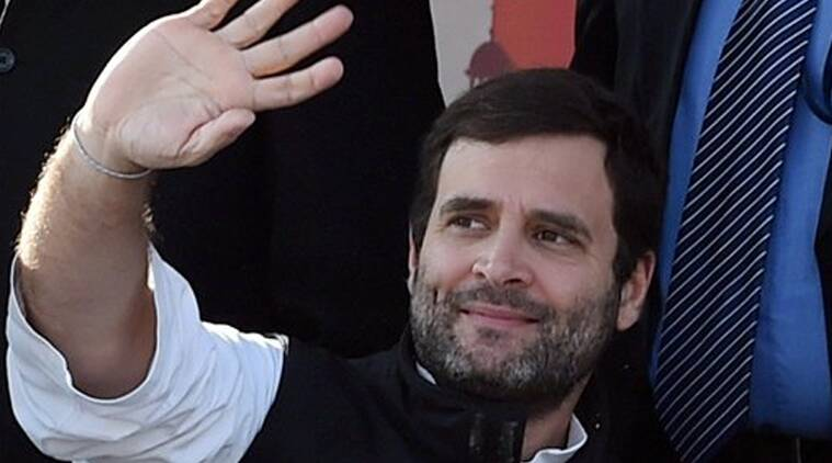 Congress Vice President Rahul Gandhi waves at an election rally at Shastri Park in New Delhi on Thursday. (Source: PTI Photo)