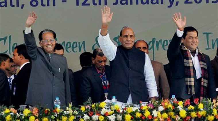 Home Minister Rajnath Singh, Assam Chief Minister Tarun Gogoi and Union Sports Minister Sarbananda Sonowal wave at the crowd during the closing ceremony of the 19th National Youth Festival in Guwahati on Monday.  ( PTI  Photo)