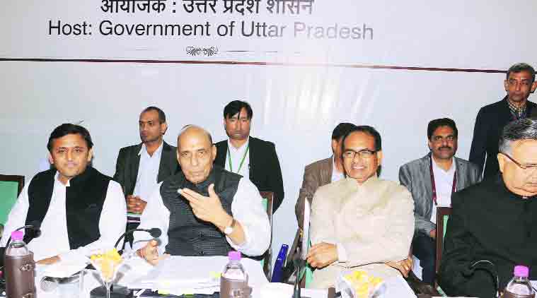 From left: UP CM Akhilesh Yadav, Home Minister Rajnath Singh, MP CM Shivraj Singh Chauhan and Chhatishgarh CM Raman Singh during the Central Zonal Council meeting, in Lucknow. (Source: Express Photo by  Pramod Adhikari)
