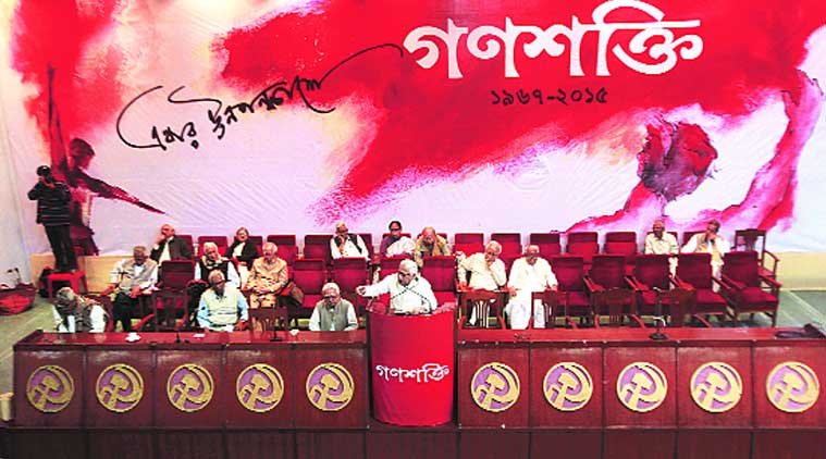 Former chief Minister Buddhadeb Bhattacherjee during the 49th foundation day celebration of CPM's daily newspaper 'Ganashakti', in Kolkata.(Source: Express Photo By Subham Dutta)