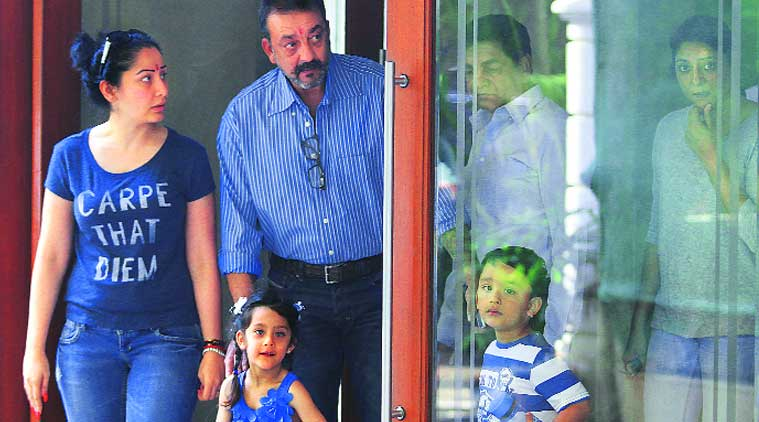 Actor Sanjay Dutt with his family in Bandra. (Source: Express Photo By Prashant Nadkar)