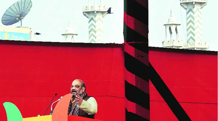 BJP national president Amit Shah at the rally. (Source: Express photo by Prem Nath Pandey)