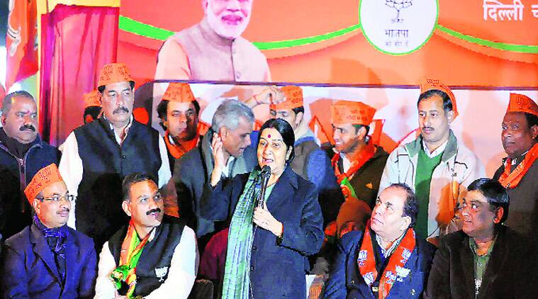 Union Minister Sushma Swaraj at a rally on Wednesday.