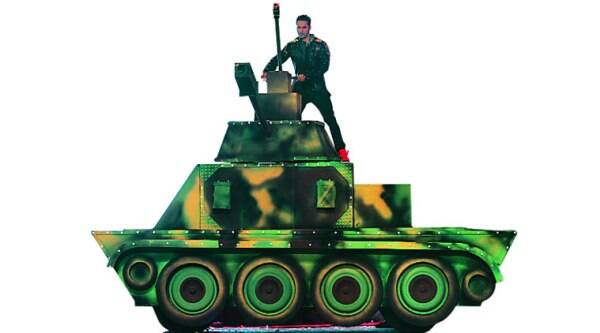 Dhawan enters   on a tank