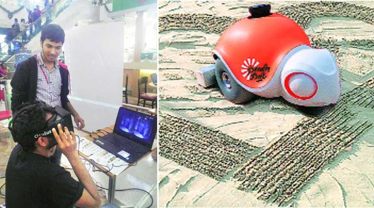 Students check out the Oculus Rift; 'Beach bot', capable of creating large-scale sand art, will also be on display.