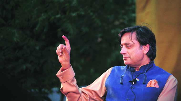 Tharoor at the Jaipur Literature Festival. (Source: Express Photo by Oinam Anand)