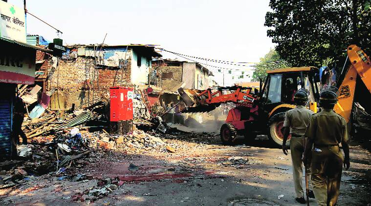 The inhabitants are to be rehabilitated on the cleared land; some demolitions have already begun as port trust tries to reclaim its land. (Express photo by  Vasant Prabhu)