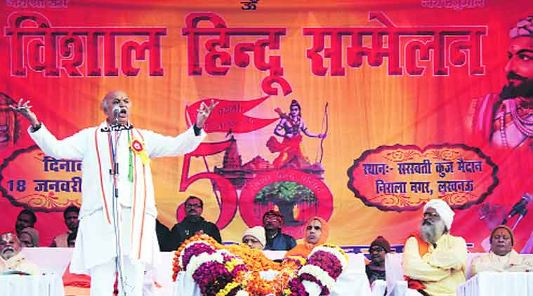 Pravin Togadia at the VHP convention in Lucknow. Source: Express Photo byPramod Adhikari)