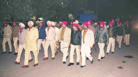 During flag march by the police on New Year eve in Ludhiana on Wednesday.