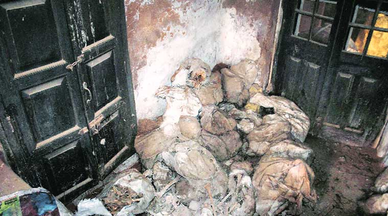 Human skeletons found in a room at Reserve Police Lines in Unnao district on Thursday. (Source: PTI)