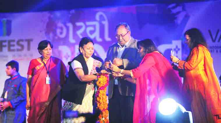 Tourism minister Saurabh Patel at Vadfest's pre-opening 'Garvi Gujarat' event. (Source: Express photo by Bhupendra Rana)